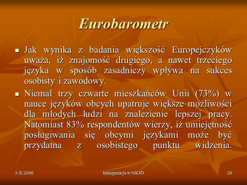 3.X.2006Inauguracja w NKJO26 Eurobarometr Jak wynika z badania większość Europejczyków uważa, iż znajomość drugiego, a nawet trzeciego języka w sposób zasadniczy wpływa na sukces osobisty i zawodowy.