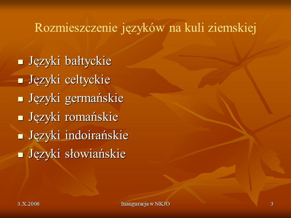 3.X.2006Inauguracja w NKJO3 Rozmieszczenie języków na kuli ziemskiej Języki bałtyckie Języki bałtyckie Języki celtyckie Języki celtyckie Języki germańskie Języki germańskie Języki romańskie Języki romańskie Języki indoirańskie Języki indoirańskie Języki słowiańskie Języki słowiańskie