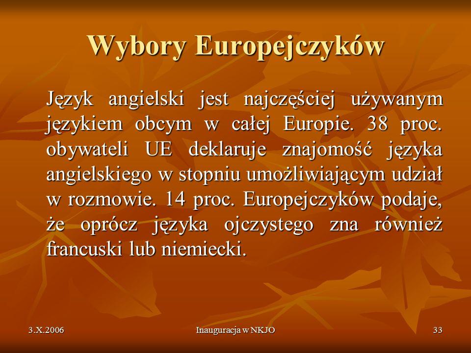 3.X.2006Inauguracja w NKJO33 Wybory Europejczyków Język angielski jest najczęściej używanym językiem obcym w całej Europie.