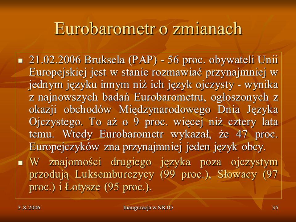 3.X.2006Inauguracja w NKJO35 Eurobarometr o zmianach 21.02.2006 Bruksela (PAP) - 56 proc.