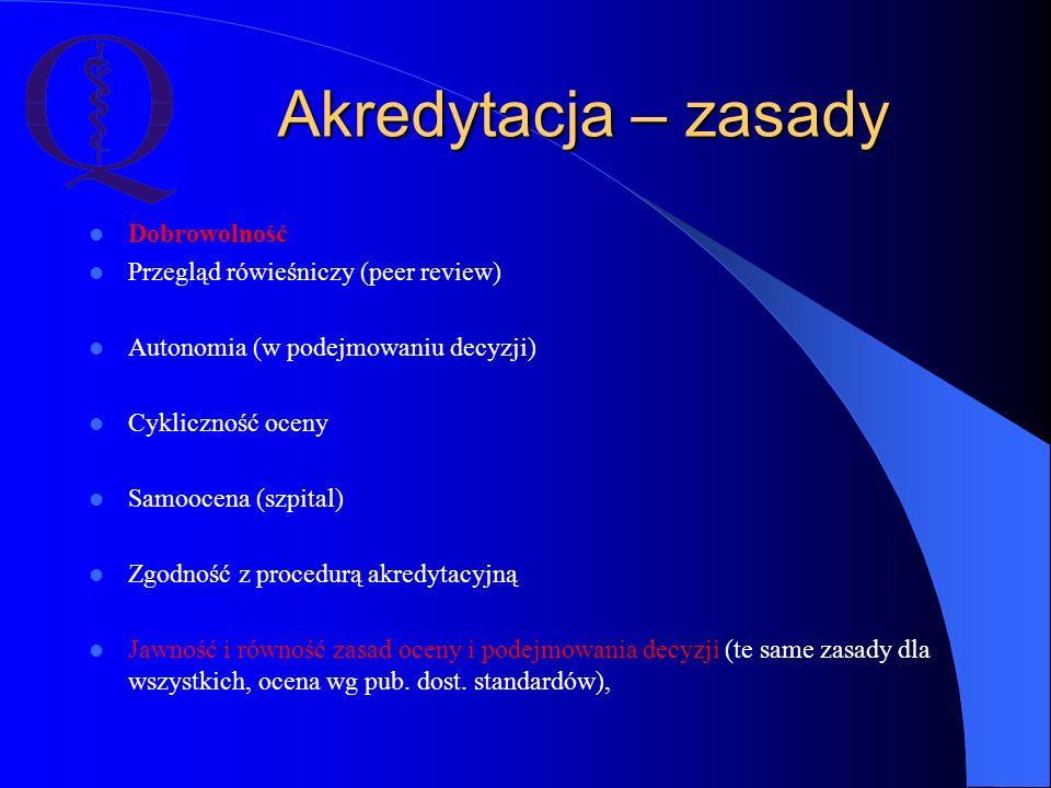 Akredytacja – zasady Dobrowolność Przegląd rówieśniczy (peer review) Autonomia (w podejmowaniu decyzji) Cykliczność oceny Samoocena (szpital) Zgodność