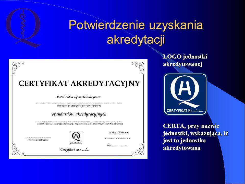 Potwierdzenie uzyskania akredytacji LOGO jednostki akredytowanej CERTA, przy nazwie jednostki, wskazująca, iż jest to jednostka akredytowana