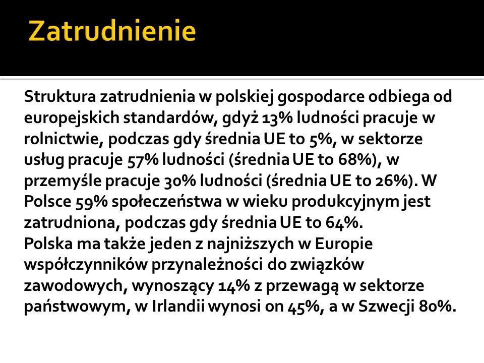 Struktura zatrudnienia w polskiej gospodarce odbiega od europejskich standardów, gdyż 13% ludności pracuje w rolnictwie, podczas gdy średnia UE to 5%, w sektorze usług pracuje 57% ludności (średnia UE to 68%), w przemyśle pracuje 30% ludności (średnia UE to 26%).