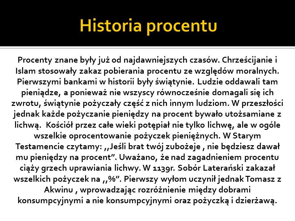 Procenty znane były już od najdawniejszych czasów.