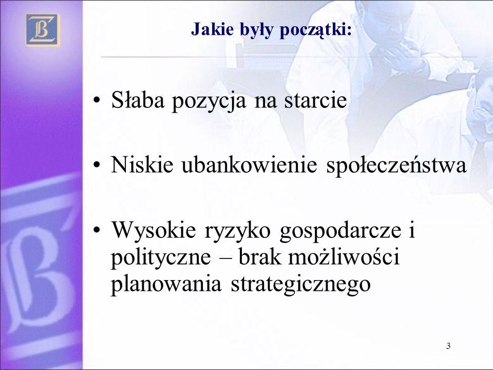 3 Słaba pozycja na starcie Niskie ubankowienie społeczeństwa Wysokie ryzyko gospodarcze i polityczne – brak możliwości planowania strategicznego Jakie