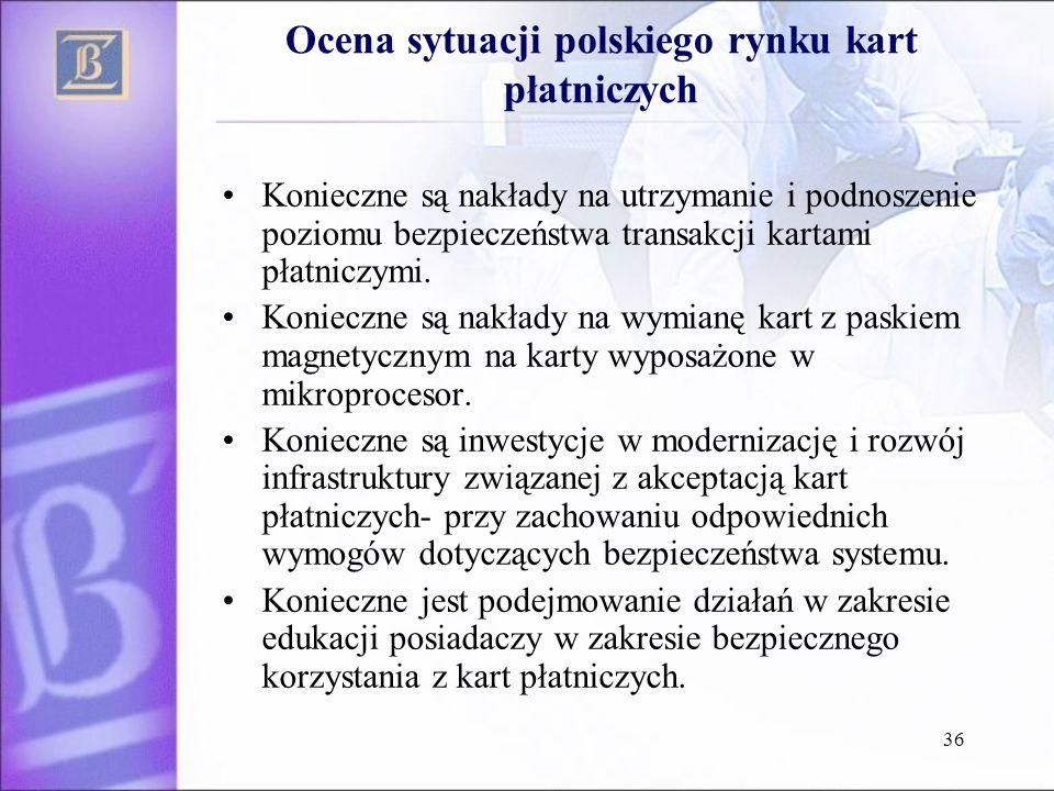 36 Ocena sytuacji polskiego rynku kart płatniczych Konieczne są nakłady na utrzymanie i podnoszenie poziomu bezpieczeństwa transakcji kartami płatnicz