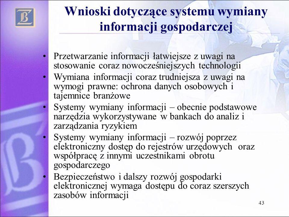 43 Wnioski dotyczące systemu wymiany informacji gospodarczej Przetwarzanie informacji łatwiejsze z uwagi na stosowanie coraz nowocześniejszych technol