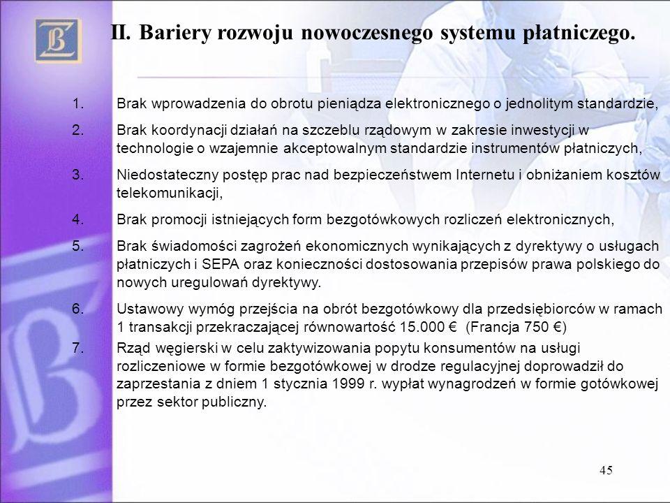 45 II. Bariery rozwoju nowoczesnego systemu płatniczego. 1.Brak wprowadzenia do obrotu pieniądza elektronicznego o jednolitym standardzie, 2.Brak koor