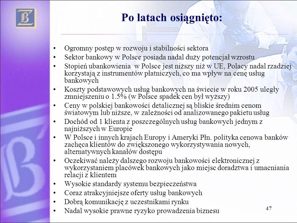 47 Ogromny postęp w rozwoju i stabilności sektora Sektor bankowy w Polsce posiada nadal duży potencjał wzrostu Stopień ubankowienia w Polsce jest niżs