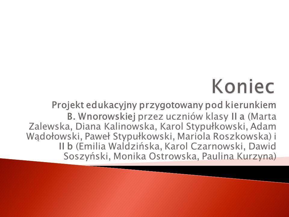 Projekt edukacyjny przygotowany pod kierunkiem B. Wnorowskiej przez uczniów klasy II a (Marta Zalewska, Diana Kalinowska, Karol Stypułkowski, Adam Wąd