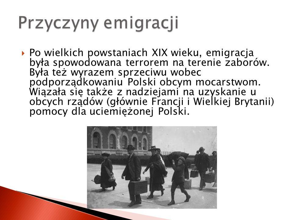  Po wielkich powstaniach XIX wieku, emigracja była spowodowana terrorem na terenie zaborów. Była też wyrazem sprzeciwu wobec podporządkowaniu Polski