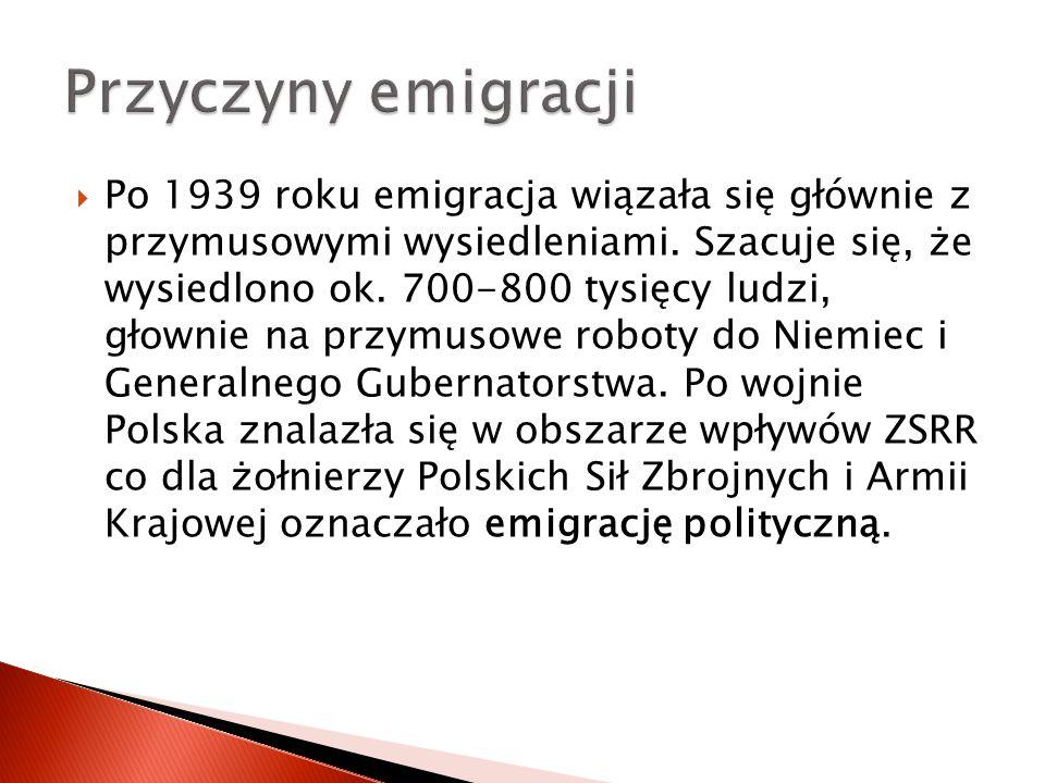  Po 1939 roku emigracja wiązała się głównie z przymusowymi wysiedleniami.