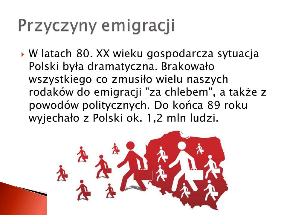  W latach 80. XX wieku gospodarcza sytuacja Polski była dramatyczna. Brakowało wszystkiego co zmusiło wielu naszych rodaków do emigracji