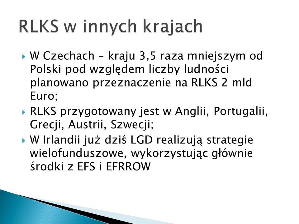  W Czechach – kraju 3,5 raza mniejszym od Polski pod względem liczby ludności planowano przeznaczenie na RLKS 2 mld Euro;  RLKS przygotowany jest w Anglii, Portugalii, Grecji, Austrii, Szwecji;  W Irlandii już dziś LGD realizują strategie wielofunduszowe, wykorzystując głównie środki z EFS i EFRROW