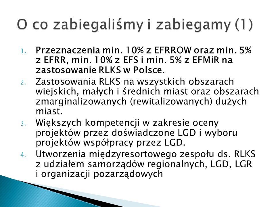 1. Przeznaczenia min. 10% z EFRROW oraz min. 5% z EFRR, min.