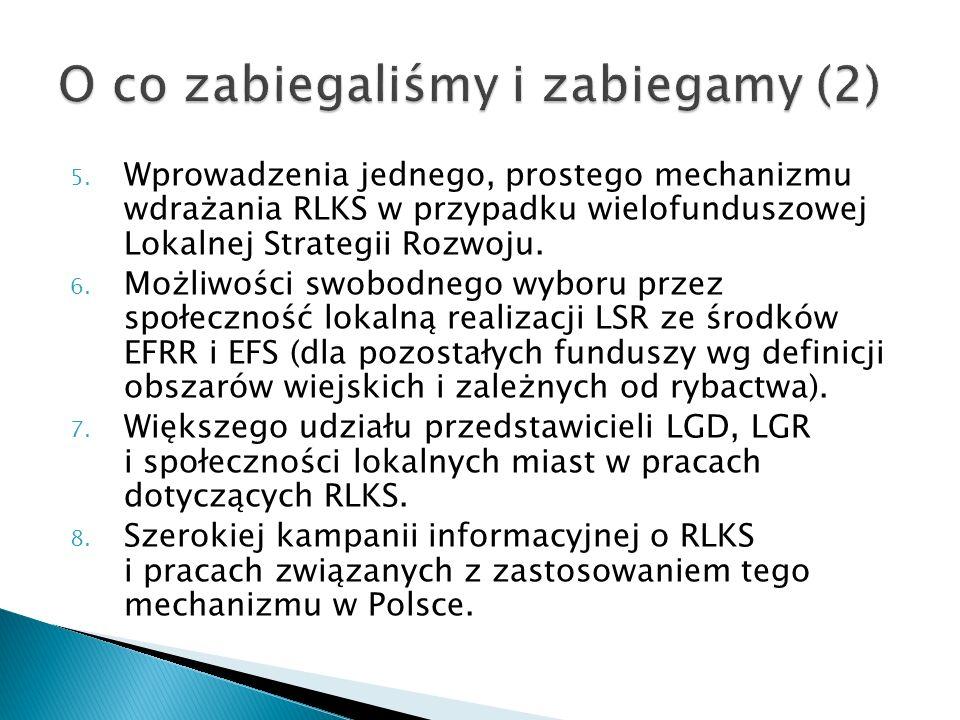 5. Wprowadzenia jednego, prostego mechanizmu wdrażania RLKS w przypadku wielofunduszowej Lokalnej Strategii Rozwoju. 6. Możliwości swobodnego wyboru p