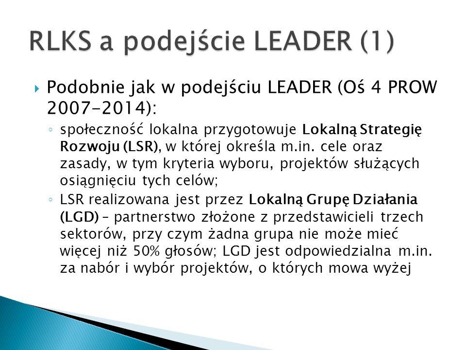  Podobnie jak w podejściu LEADER (Oś 4 PROW 2007-2014): ◦ społeczność lokalna przygotowuje Lokalną Strategię Rozwoju (LSR), w której określa m.in.