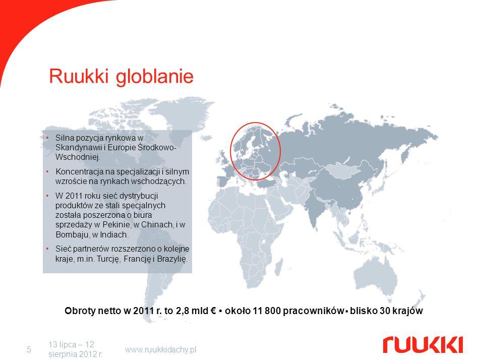 13 lipca – 12 sierpnia 2012 r. www.ruukkidachy.pl5 Ruukki globlanie Obroty netto w 2011 r.