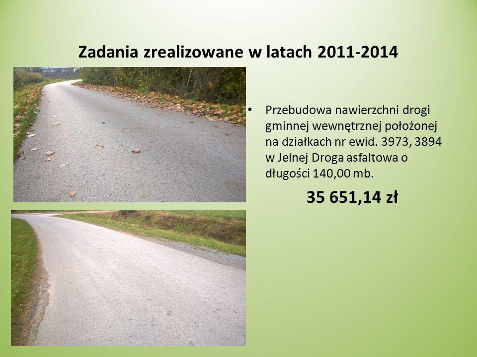 Zadania zrealizowane w latach 2011-2014 Przebudowa nawierzchni drogi gminnej wewnętrznej położonej na działkach nr ewid.