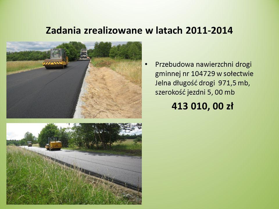 Zadania zrealizowane w latach 2011-2014 Przebudowa nawierzchni drogi gminnej nr 104729 w sołectwie Jelna długość drogi 971,5 mb, szerokość jezdni 5, 00 mb 413 010, 00 zł