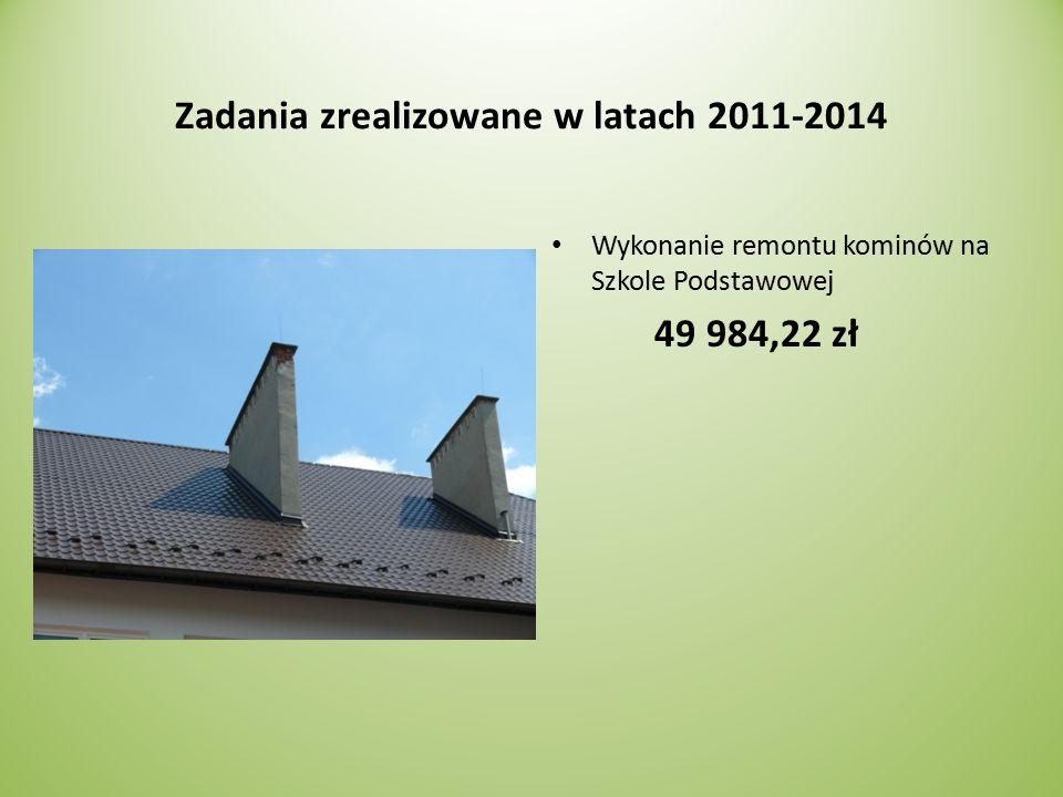 Zadania zrealizowane w latach 2011-2014 Wykonanie remontu kominów na Szkole Podstawowej 49 984,22 zł