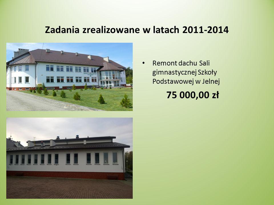 Zadania zrealizowane w latach 2011-2014 Remont dachu Sali gimnastycznej Szkoły Podstawowej w Jelnej 75 000,00 zł