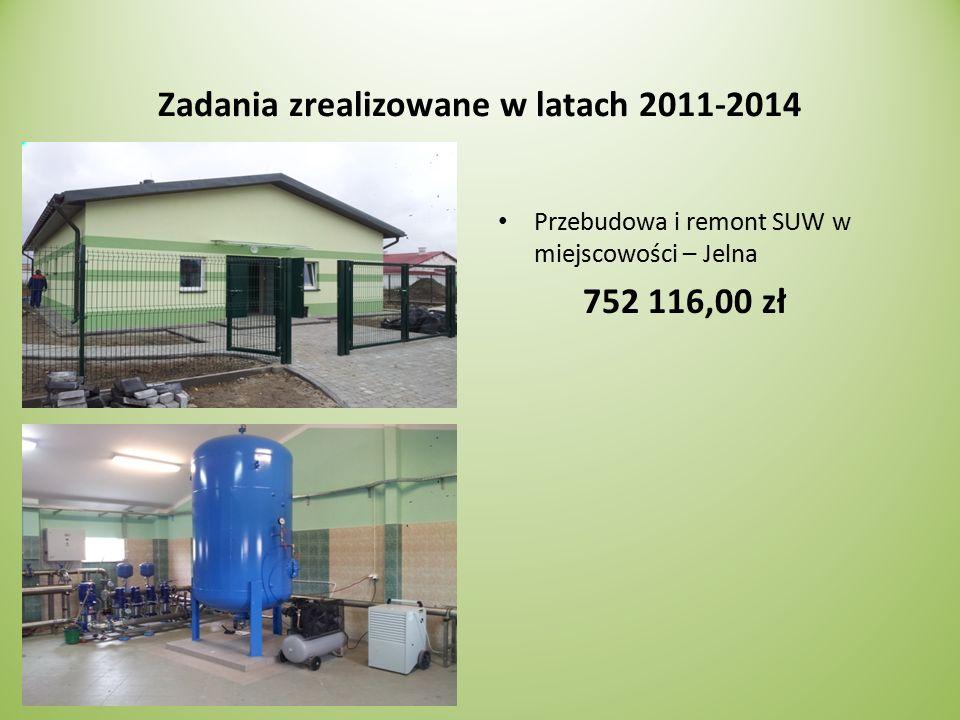 Zadania zrealizowane w latach 2011-2014 Przebudowa i remont SUW w miejscowości – Jelna 752 116,00 zł