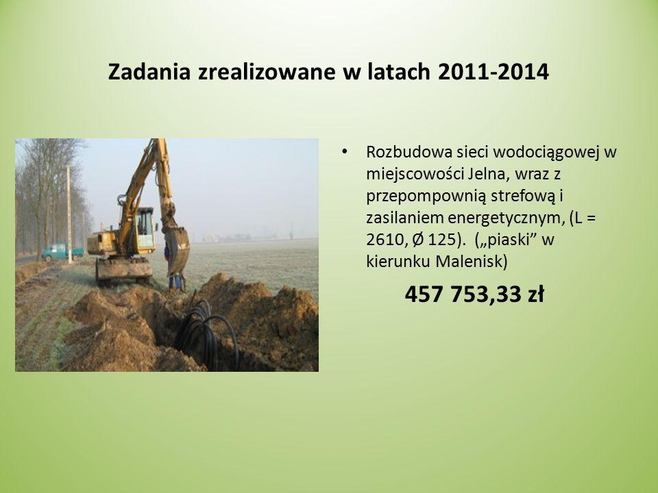 Zadania zrealizowane w latach 2011-2014 Rozbudowa sieci wodociągowej w miejscowości Jelna, wraz z przepompownią strefową i zasilaniem energetycznym, (L = 2610, Ø 125).