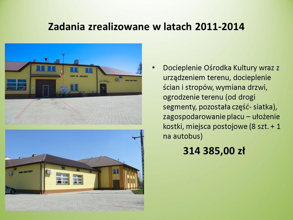 Zadania zrealizowane w latach 2011-2014 Budowa bezpiecznego placu zabaw w miejscowości Jelna (obok Domu Kultury) Urządzenia zabawowe tj.