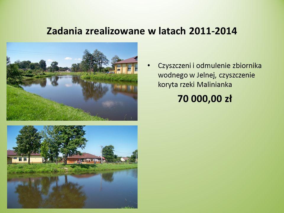 Zadania zrealizowane w latach 2011-2014 Czyszczeni i odmulenie zbiornika wodnego w Jelnej, czyszczenie koryta rzeki Malinianka 70 000,00 zł