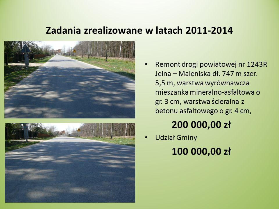 Zadania zrealizowane w latach 2011-2014 Remont drogi powiatowej nr 1243R Jelna – Maleniska dł.