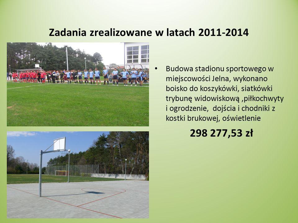 Zadania zrealizowane w latach 2011-2014 Budowa stadionu sportowego w miejscowości Jelna, wykonano boisko do koszykówki, siatkówki trybunę widowiskową,piłkochwyty i ogrodzenie, dojścia i chodniki z kostki brukowej, oświetlenie 298 277,53 zł