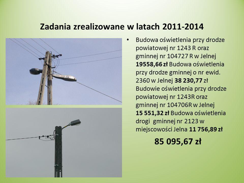 Zadania zrealizowane w latach 2011-2014 Budowa oświetlenia przy drodze powiatowej nr 1243 R oraz gminnej nr 104727 R w Jelnej 19558,66 zł Budowa oświetlenia przy drodze gminnej o nr ewid.