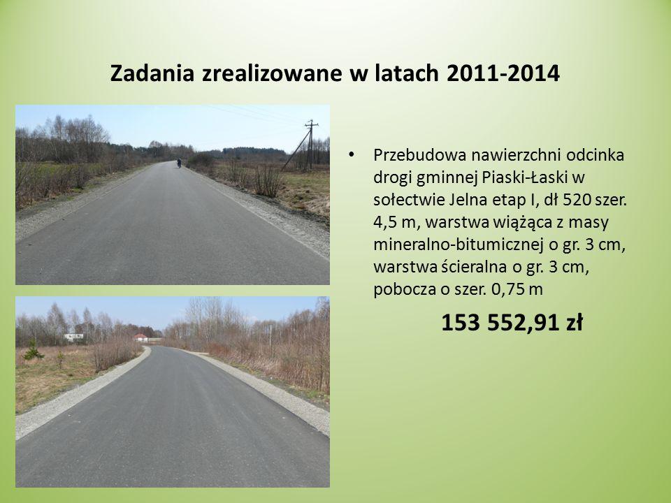 Zadania zrealizowane w latach 2011-2014 Przebudowa nawierzchni odcinka drogi gminnej Piaski-Łaski w sołectwie Jelna etap I, dł 520 szer.