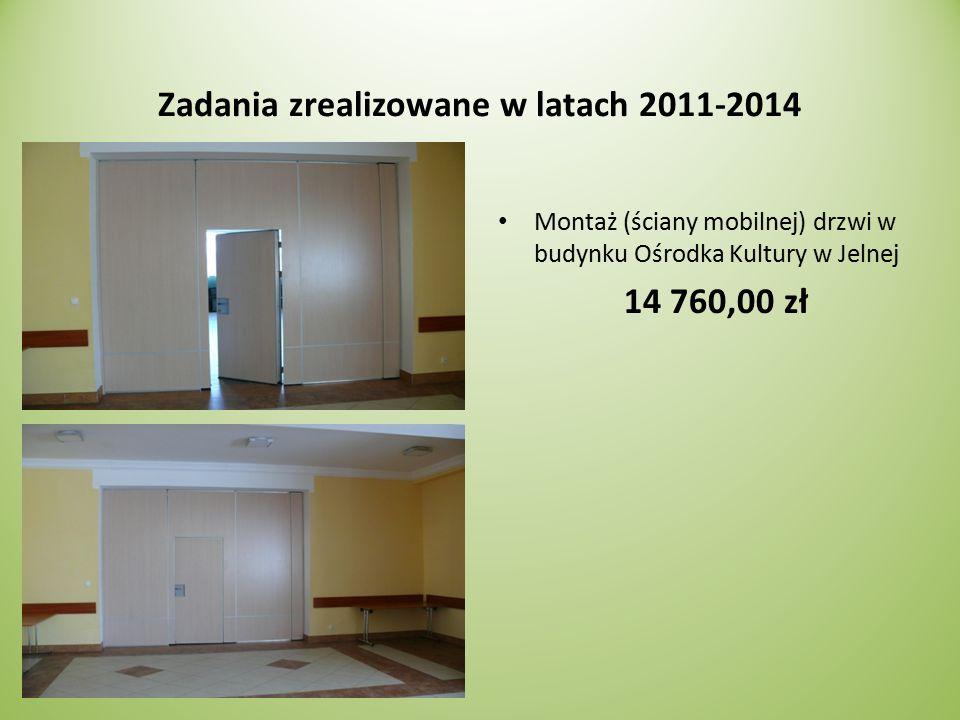 Zadania zrealizowane w latach 2011-2014 Montaż (ściany mobilnej) drzwi w budynku Ośrodka Kultury w Jelnej 14 760,00 zł