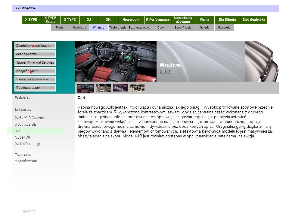 Slajd Nr 18 XJR Kabina nowego XJR jest tak imponująca i dynamiczna jak jego osiągi.