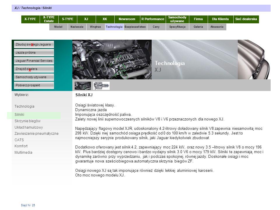 Slajd Nr 25 Silniki XJ Osiągi światowej klasy. Dynamiczna jazda Imponująca oszczędność paliwa.