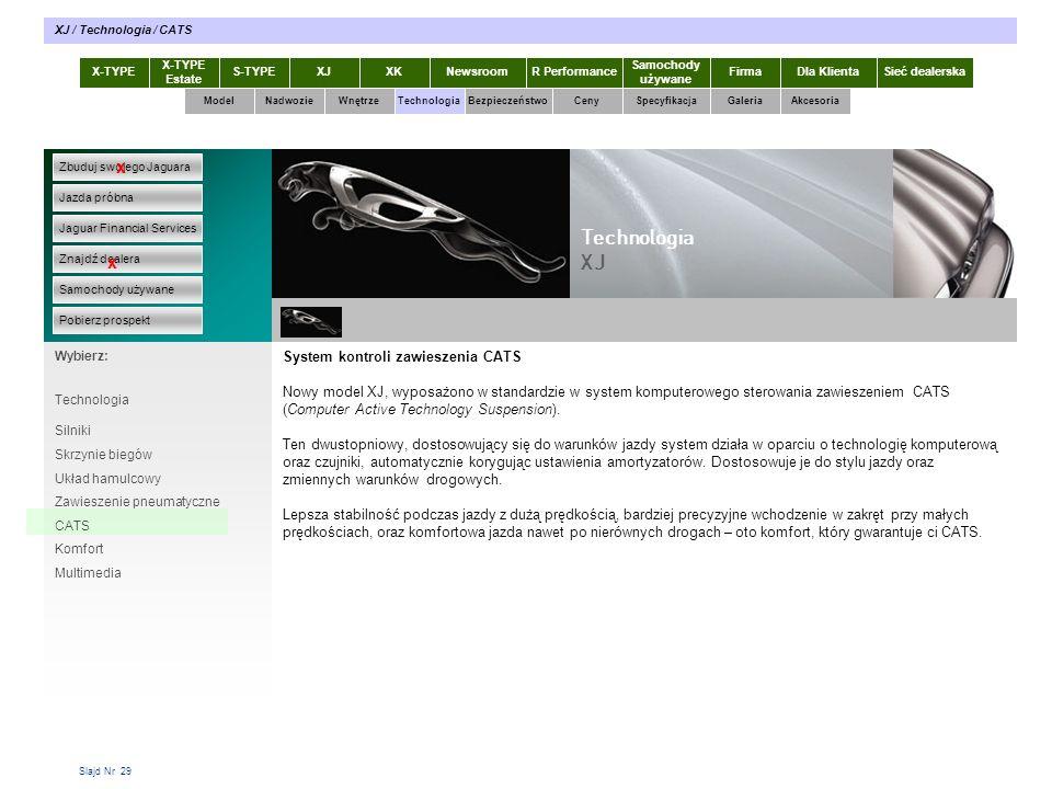 Slajd Nr 29 X-TYPE Estate S-TYPEXJXKR Performance Samochody używane Dla KlientaSieć dealerskaNewsroomFirma ModelTechnologiaBezpieczeństwoCenySpecyfikacjaGaleriaAkcesoriaWnętrze XJ / Technologia / CATS Zbuduj swojego Jaguara Jazda próbna Jaguar Financial Services Znajdź dealera Samochody używane Pobierz prospekt x x Wybierz: Nadwozie System kontroli zawieszenia CATS Nowy model XJ, wyposażono w standardzie w system komputerowego sterowania zawieszeniem CATS (Computer Active Technology Suspension).
