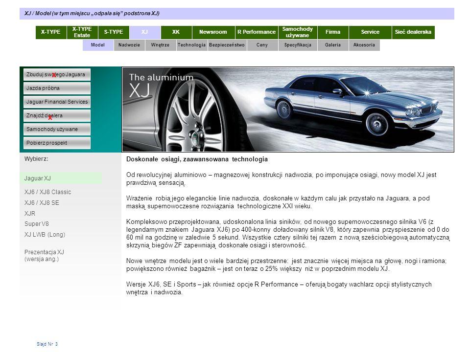 Slajd Nr 34 X-TYPE Estate S-TYPEXJXKR Performance Samochody używane Dla KlientaSieć dealerskaNewsroomFirma ModelTechnologiaBezpieczeństwoCenySpecyfikacjaGaleriaAkcesoriaWnętrze XJ / Ceny / XJ - Gwarancje Zbuduj swojego Jaguara Jazda próbna Jaguar Financial Services Znajdź dealera Samochody używane Pobierz prospekt x x Wybierz: XJ - Ceny XJ - Gwarancje Samochody sprzedawane przez Jaguar Poland są objęte następującymi świadczeniami: - gwarancja na podzespoły mechaniczne na okres 36 miesięcy bez limitu kilometrów, - gwarancja na powłokę lakierniczą na okres 36 miesięcy, - gwarancja na perforację blach na okres 72 miesięcy, - europejski program pomocy Jaguar Assistance na okres 36 miesięcy Nadwozie Gwarancje XJ
