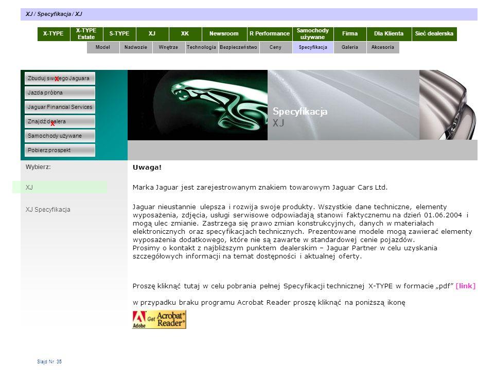 Slajd Nr 35 Uwaga. Marka Jaguar jest zarejestrowanym znakiem towarowym Jaguar Cars Ltd.