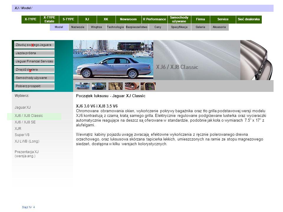 Slajd Nr 25 Silniki XJ Osiągi światowej klasy.Dynamiczna jazda Imponująca oszczędność paliwa.