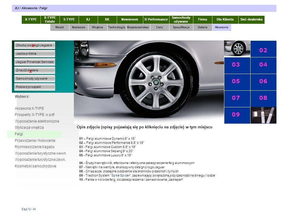 Slajd Nr 44 X-TYPE Estate S-TYPEXJXKR Performance Samochody używane Dla KlientaSieć dealerskaNewsroomFirma ModelTechnologiaBezpieczeństwoCenySpecyfikacjaGaleriaAkcesoriaWnętrze XJ / Akcesoria / Felgi Zbuduj swojego Jaguara Jazda próbna Jaguar Financial Services Znajdź dealera Samochody używane Pobierz prospekt x x Wybierz: Specyfikacja X-TYPE 2.0 Diesel Akcesoria X-TYPE Prospekty X-TYPE w pdf Wyposażenie elektroniczne Stylizacja wnętrza Felgi Przewożenie / holowanie Rozmieszczenie bagażu Wyposażenie turystyczne wewn.