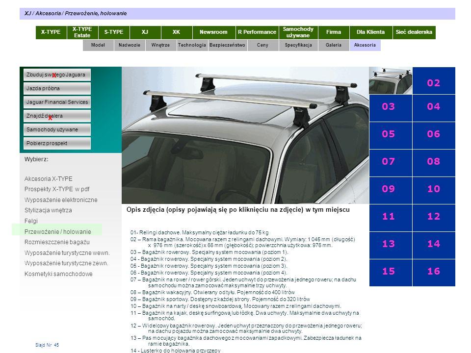 Slajd Nr 45 X-TYPE Estate S-TYPEXJXKR Performance Samochody używane Dla KlientaSieć dealerskaNewsroomFirma ModelTechnologiaBezpieczeństwoCenySpecyfikacjaGaleriaAkcesoriaWnętrze XJ / Akcesoria / Przewożenie, holowanie Zbuduj swojego Jaguara Jazda próbna Jaguar Financial Services Znajdź dealera Samochody używane Pobierz prospekt x x Wybierz: Specyfikacja X-TYPE 2.0 Diesel Akcesoria X-TYPE Prospekty X-TYPE w pdf Wyposażenie elektroniczne Stylizacja wnętrza Felgi Przewożenie / holowanie Rozmieszczenie bagażu Wyposażenie turystyczne wewn.