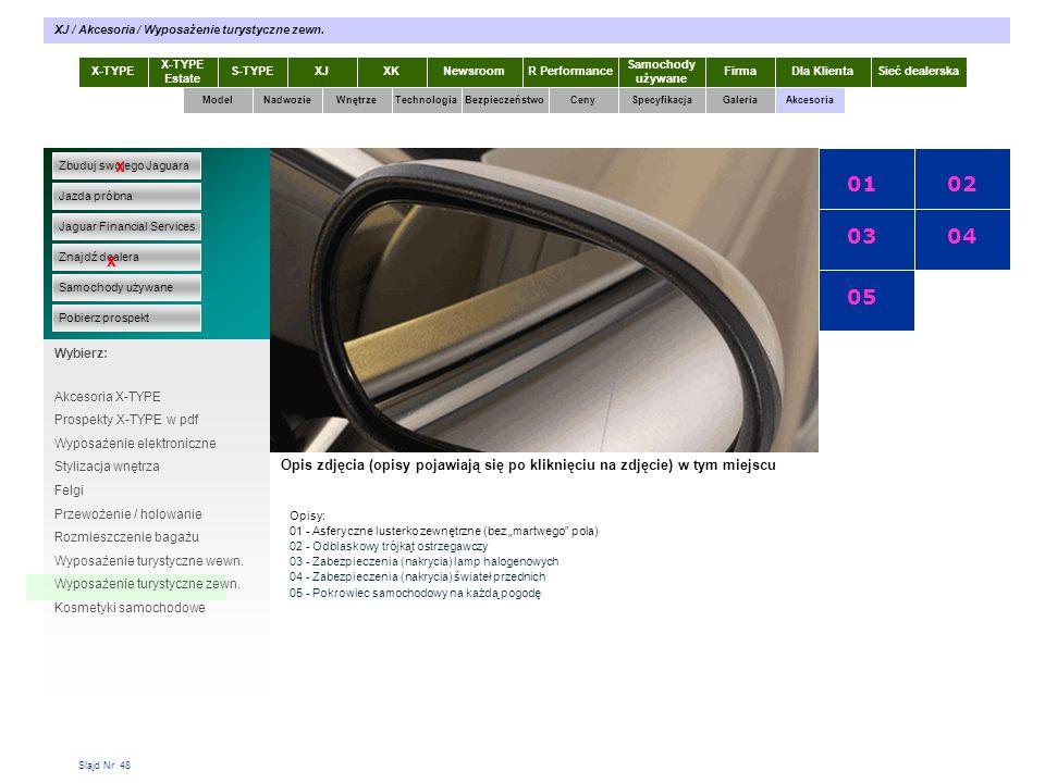 Slajd Nr 48 X-TYPE Estate S-TYPEXJXKR Performance Samochody używane Dla KlientaSieć dealerskaNewsroomFirma ModelTechnologiaBezpieczeństwoCenySpecyfikacjaGaleriaAkcesoriaWnętrze XJ / Akcesoria / Wyposażenie turystyczne zewn.