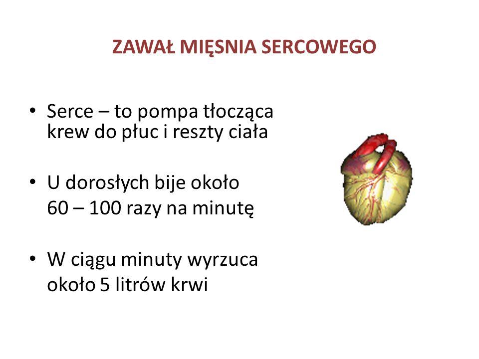 ZAWAŁ MIĘSNIA SERCOWEGO Serce – to pompa tłocząca krew do płuc i reszty ciała U dorosłych bije około 60 – 100 razy na minutę W ciągu minuty wyrzuca ok