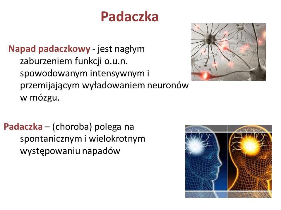 Padaczka Napad padaczkowy - jest nagłym zaburzeniem funkcji o.u.n. spowodowanym intensywnym i przemijającym wyładowaniem neuronów w mózgu. Padaczka –