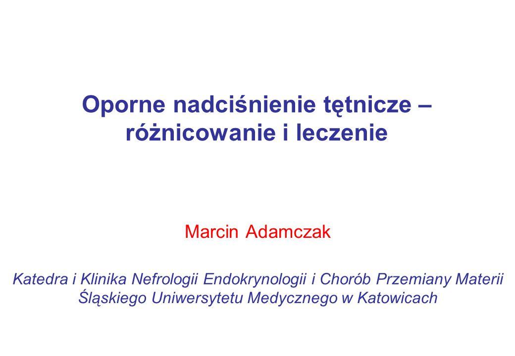 Badanie ASPIRANT 117 chorych z opornym nadciśnieniem tętniczym i z [K + ] < 5,4 mmol/l Spironolakton 25 mg vs placebo przez 8 tygodni ↓ SBP: 15 vs 8 mmHg; p=0,01 ↓ DBP: 7 vs 3 mmHg; ns ↑ [K + ] u chorych leczonych spironolaktonem o 0,3 mmol/l Leczenie prawdziwie opornego samoistnego nadciśnienia tętniczego Vaclavík J.