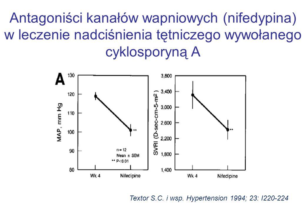 Antagoniści kanałów wapniowych (nifedypina) w leczenie nadciśnienia tętniczego wywołanego cyklosporyną A Textor S.C. i wsp. Hypertension 1994; 23: I22