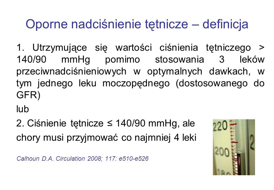 Oporne nadciśnienie tętnicze – definicja 1. Utrzymujące się wartości ciśnienia tętniczego > 140/90 mmHg pomimo stosowania 3 leków przeciwnadciśnieniow