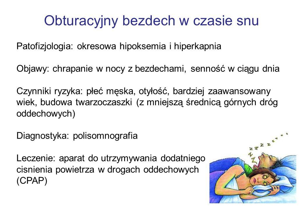 Obturacyjny bezdech w czasie snu Patofizjologia: okresowa hipoksemia i hiperkapnia Objawy: chrapanie w nocy z bezdechami, senność w ciągu dnia Czynnik